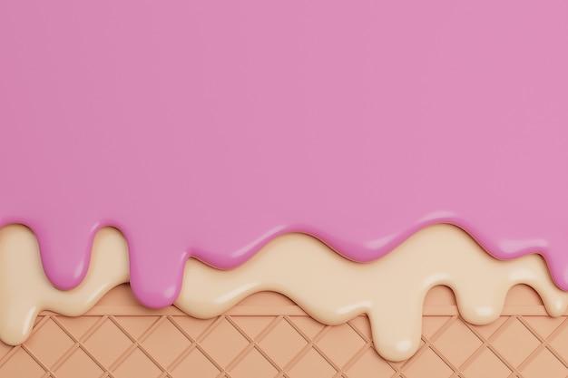 イチゴとバニラアイスクリームをウェーハの背景に溶かし、3dレンダリング