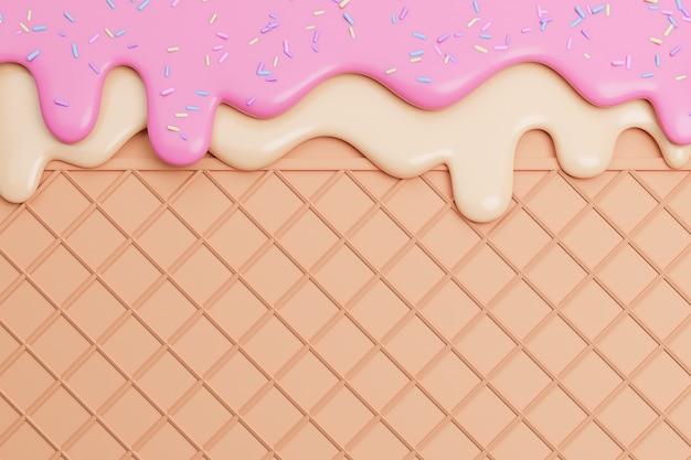 ストロベリーとバニラアイスクリームをウエハースの背景に振りかけると溶かし、