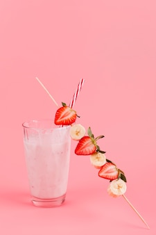 Strawberry banana beverage in glass