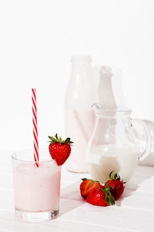 Strawberry beverage on table