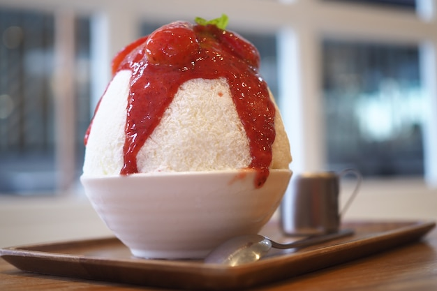 Strawberry bing su korean sweets.
