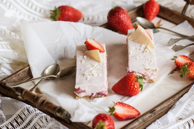 Strawberry cheesecake on a dish