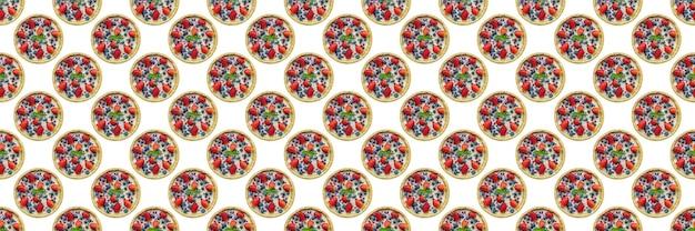카페 디자인, 원활한 패턴에 대 한 흰색 배경에 고립 된 딸기 치즈 케이크
