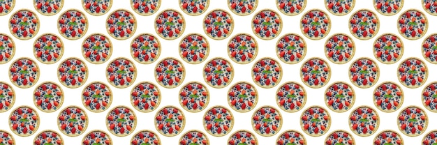 Strawberry cheesecake isolated on a white background, for cafe design, seamless pattern