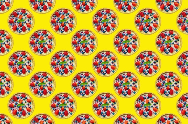 Strawberry cheesecake multiplied in large quantities on a colored background, for cafe design, seamless pattern