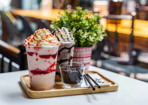 Strawberry and chocolate frappe with whipped cream