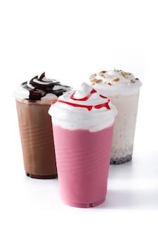 Strawberry and chocolate milkshakes