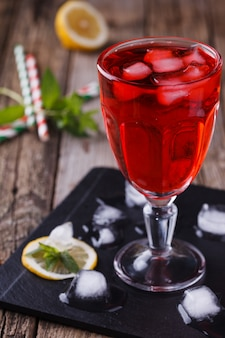 Strawberry, cold juice from fresh berries. summer party drink