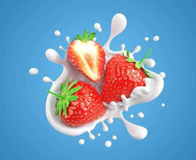 튀는 우유 또는 요구르트 스플래시에 떨어지는 딸기