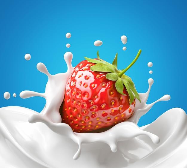 Клубника падает в белое молоко или йогурт всплеск, 3d иллюстрация.