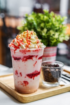 Strawberry frappe with whipped cream