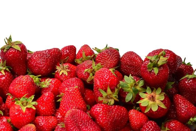 Клубника. макрос свежих ягод. фруктовый фон. вид сверху.