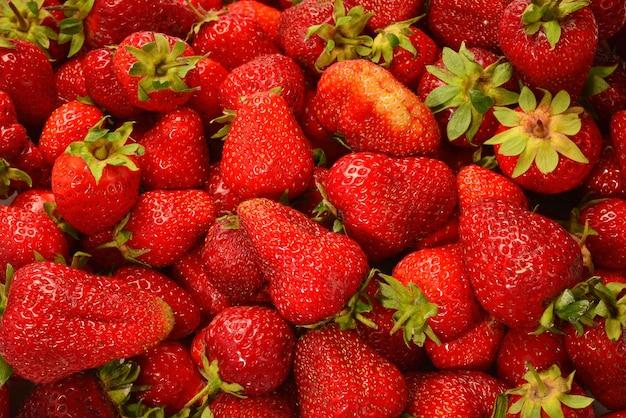 イチゴ。フレッシュベリーのマクロ。果実表面