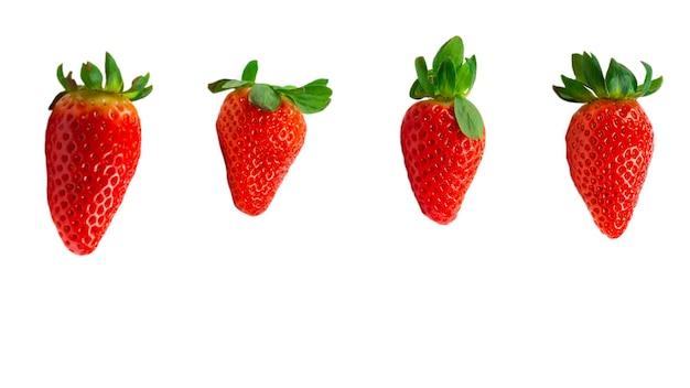 Клубника. макрос свежих ягод. изолированные на белом.