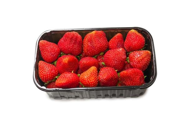 Клубника. свежая группа ягод, изолированные на белом фоне.