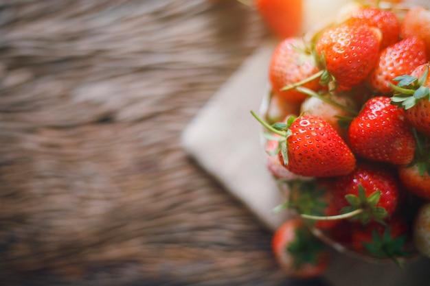 Strawberry fresh on wood background
