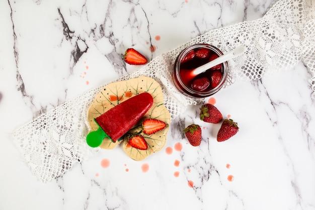 Strawberry homemade ice cream, sorbet