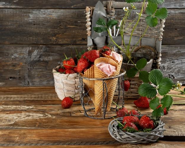 Strawberry ice cream in waffle cones