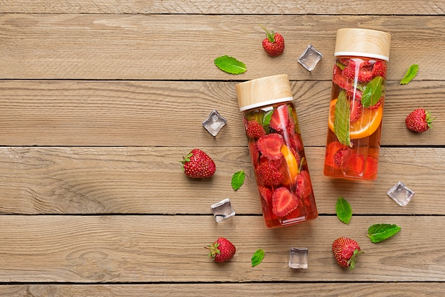 Strawberry infused water, cocktail, lemonade or tea.