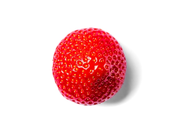 Strawberry isolated on white background. top view