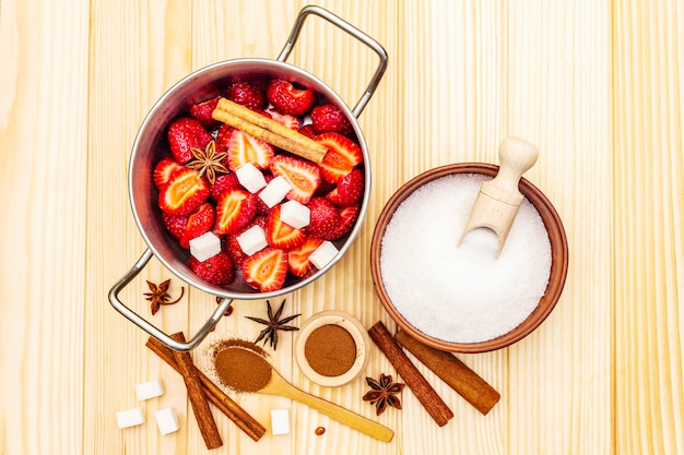 Strawberry jam. ingredients for making homemade sweet dessert