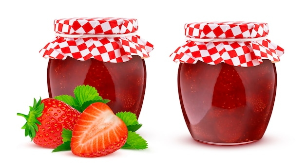 Strawberry jam, jar of fruit marmalade isolated on white background with clipping path