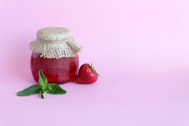 Strawberry jam, strawberry and mint