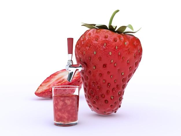 딸기 주스 3d 렌더링