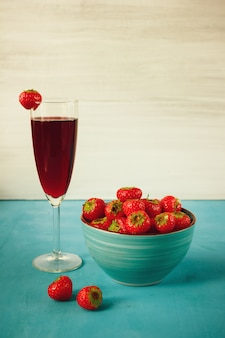 Strawberry juice with strawberries