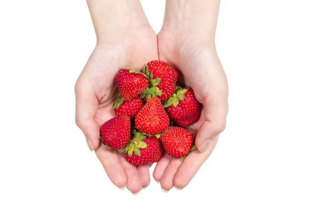 イチゴは白い背景で隔離の手で保管しました。