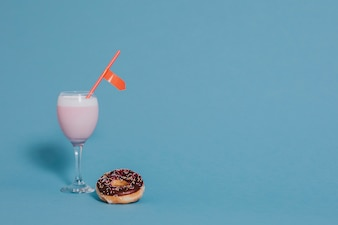 Strawberry milk and donut