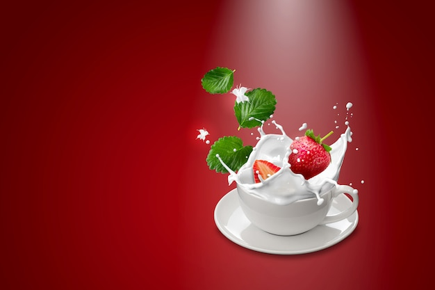 Strawberry and milk in white mugs on red background
