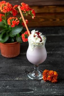 Strawberry milkshake  side view
