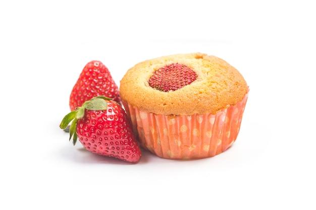 Strawberry muffins on white background
