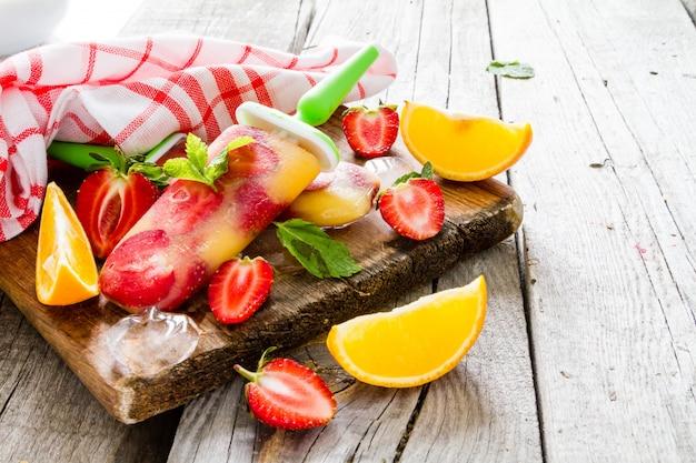 Strawberry and orange ice cream