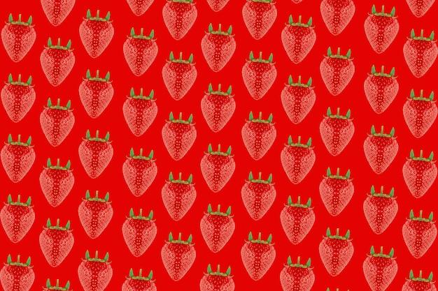 빨간색 배경에 딸기 패턴