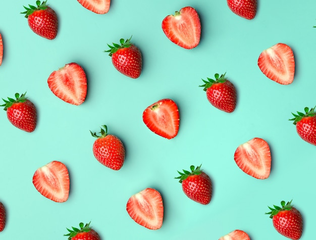 Strawberry. pattern of strawberrys on blue