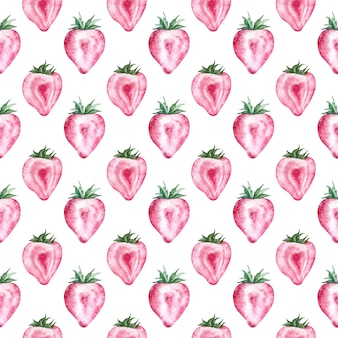 Strawberry pattern with white background. watercolor summer illustration. heart-shaped berries.