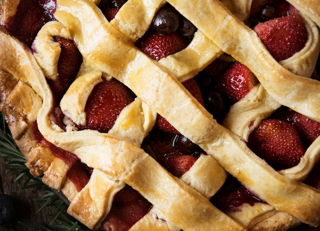Strawberry pie food photography recipe idea