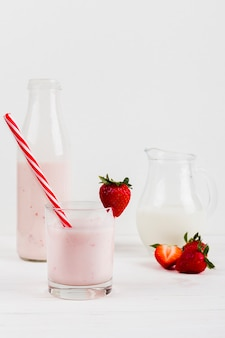 Strawberry shake in glass