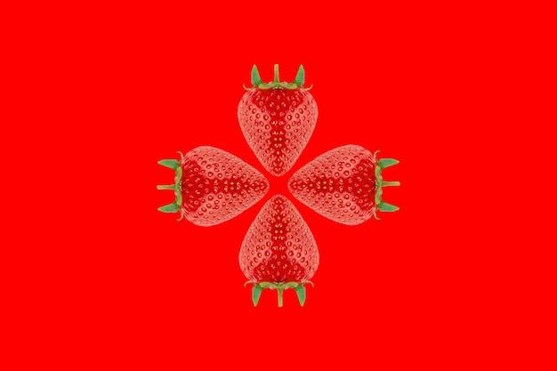 빨간색 배경에 얇게 썬 딸기