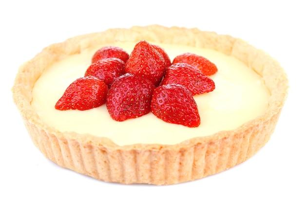 Strawberry tart isolated on white
