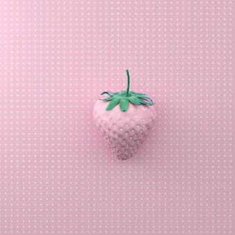 Strawberry with dot white on point pattern pink background. minimal idea food concept. fla