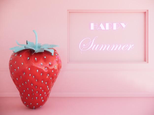 여름 배경으로 딸기