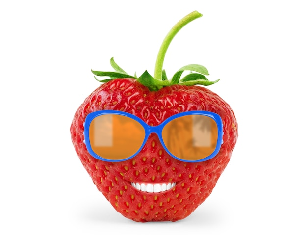 Strawberry  with sun glasses funny concept