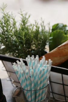 Straws in a glass