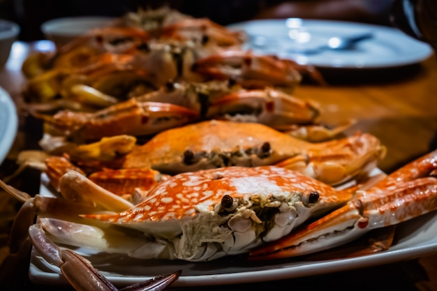 Stream flower crab on dish