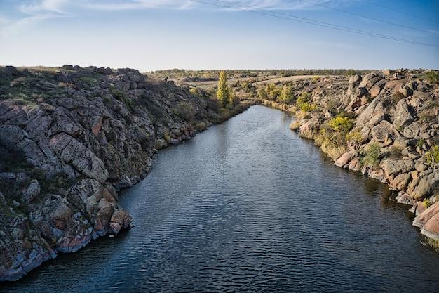 A stream flowing among huge stones in picturesque ukraine