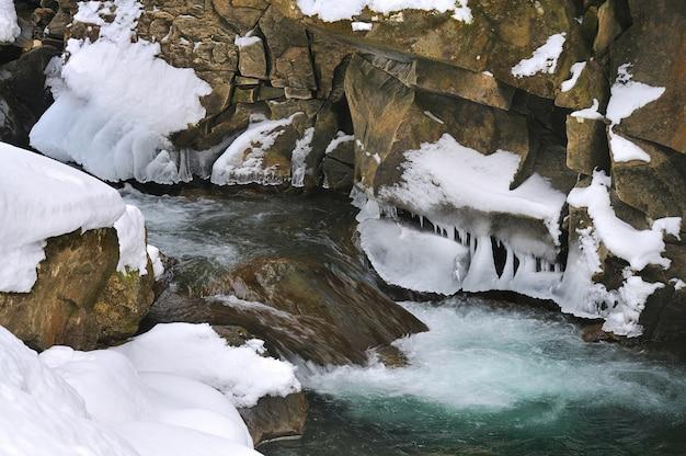 Ручей в снежном горном лесу