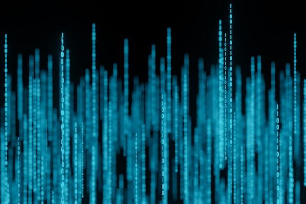 Поток двоичных матричных кодовых чисел на экране 3d-рендеринга